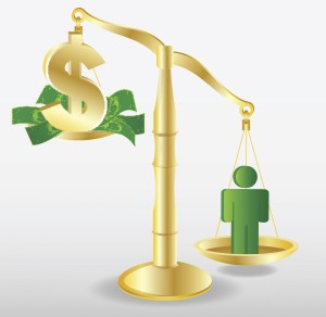 vector image of a scale with a person and money on other side