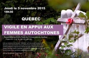 Vigile Femmes autochtones 5 novembre 2015